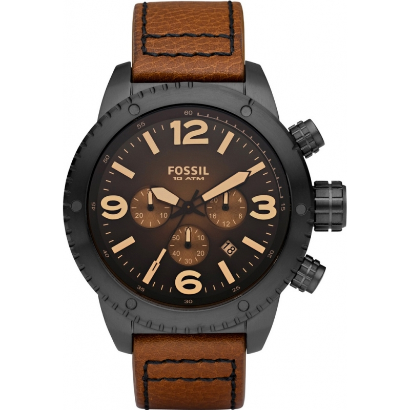 Ch2666 mens fossil watch watches2u for Black tan watch