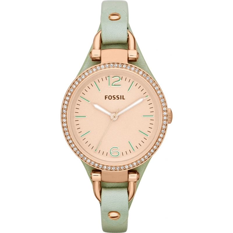 Fossil ES3467 Ladies Georgia Mint Leather Strap Watch