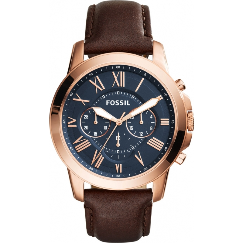 fs5068 grant fossil mens watch watches2u fossil fs5068 mens grant brown leather chronograph watch