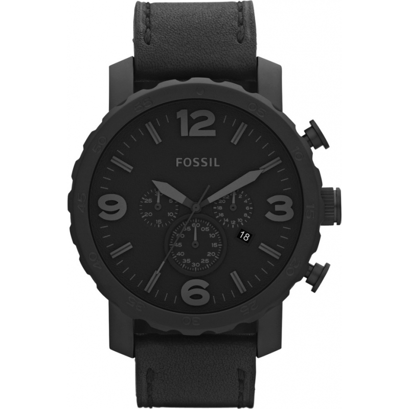 jr1354 nate fossil mens watch watches2u fossil jr1354 mens nate black leather chronograph watch