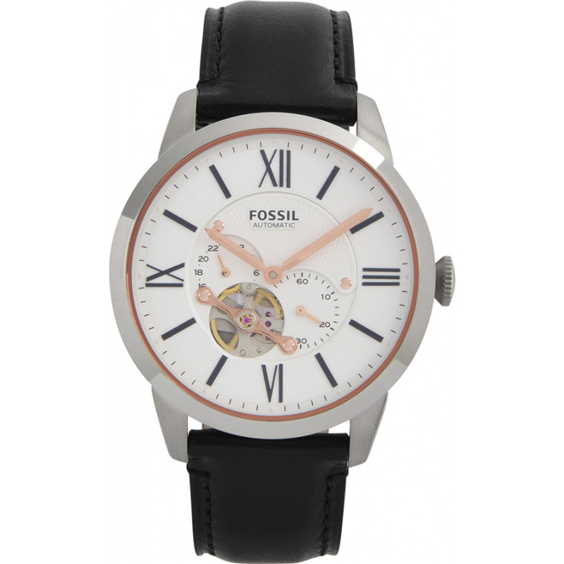 me3104 townsman fossil mens watch watches2u fossil me3104 mens townsman automatic black leather strap watch