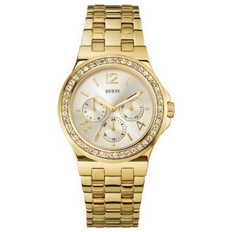 Guess W18538L1 Ladies PUZZLE White Gold Crystals Watch Add To Favourites
