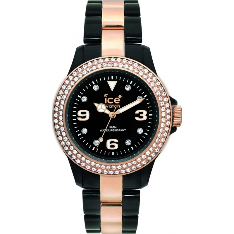 Ice-Watch Watches ST.BK.SP Ladies Stone Set Black Plastic With Two Tone Bracelet Watch