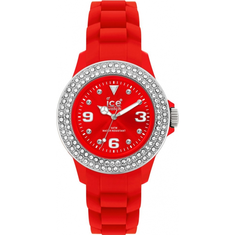 Ice-Watch Watches ST.RS.SS Ladies Small Sili Stone Red Dial Red Silicon Strap Watch
