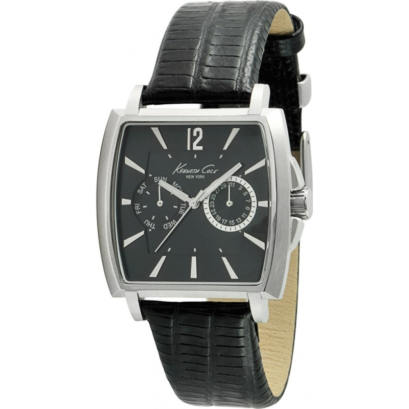 Kenneth Cole Watches KC1678 Mens Black Dial And Leather Strap Watch