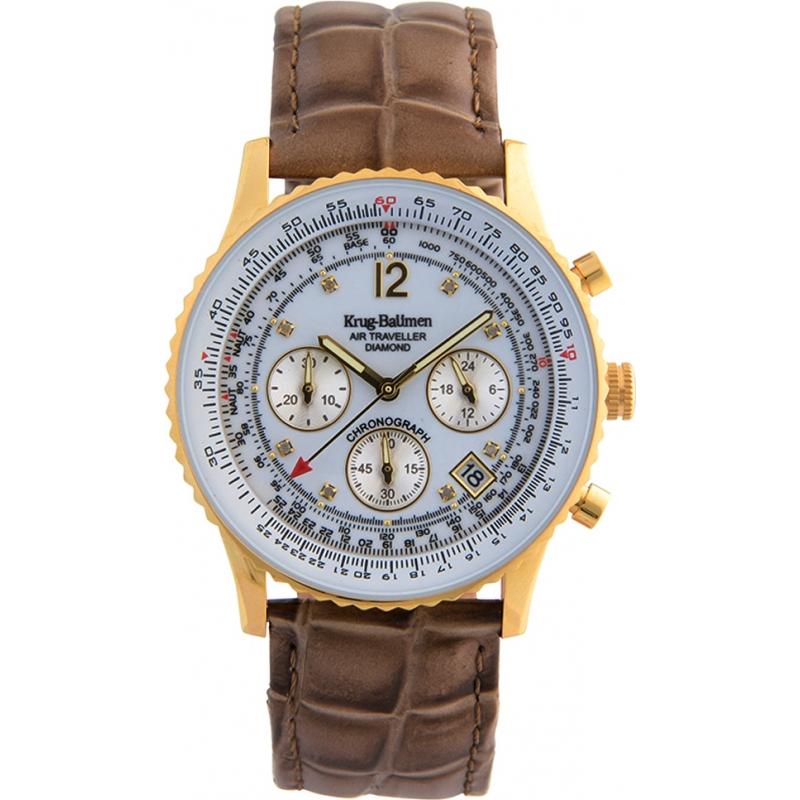 Krug-Baumen 400201DS correa de color marrón esfera blanca de diamantes de aire que viaja