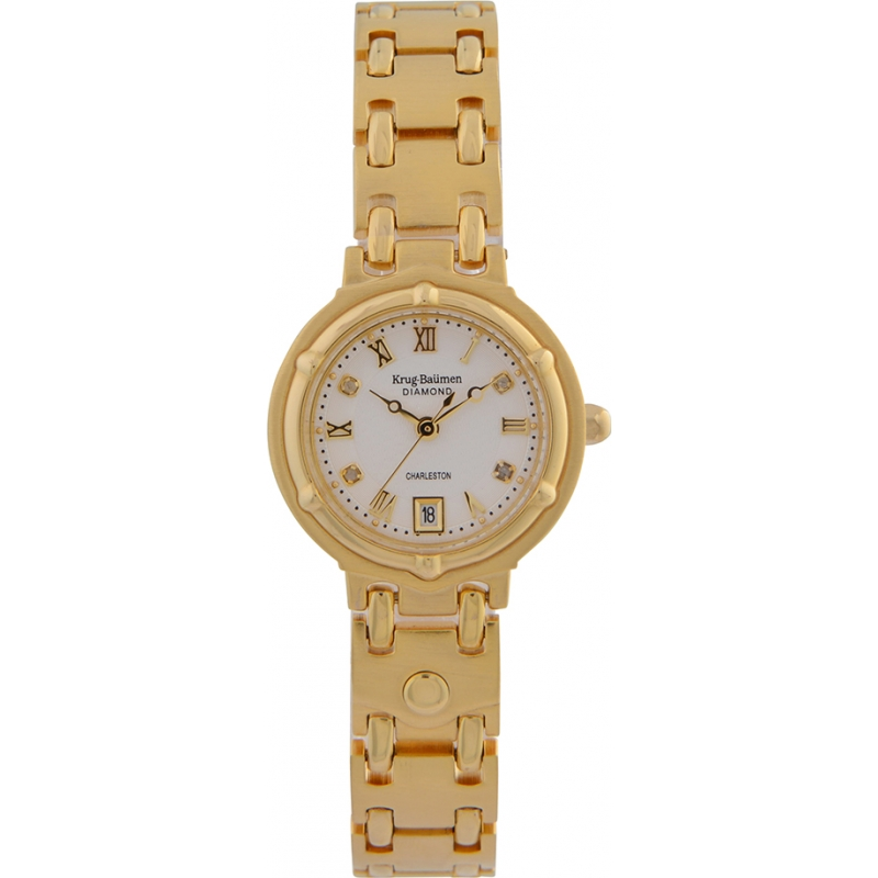 Krug Baümen 5116DL Charleston 4 Diamond White Dial Gold Strap
