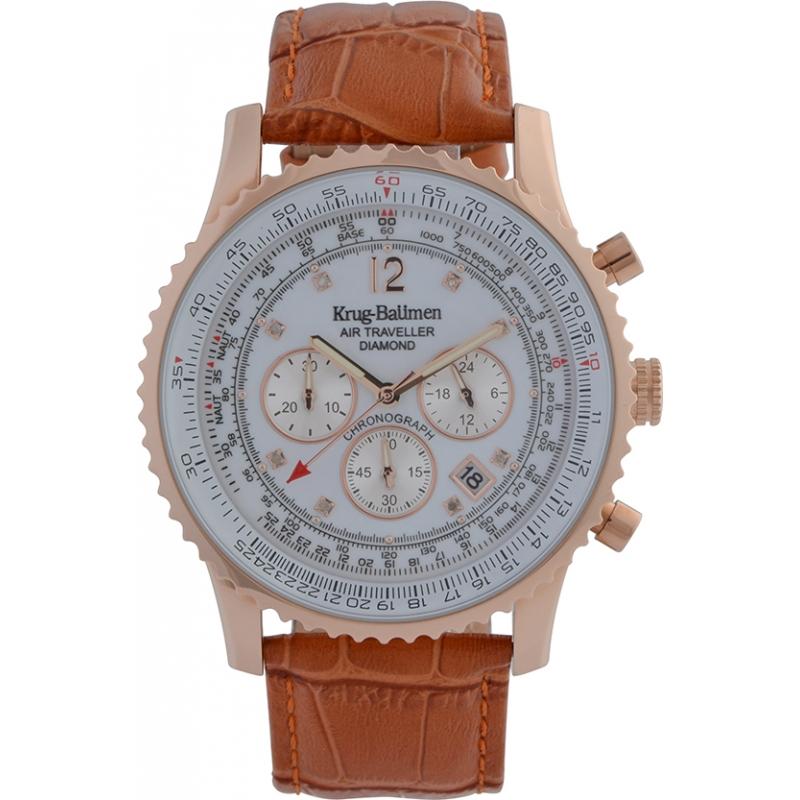 Krug-Baumen 600701DS reloj de diamantes viajero aéreo para hombre
