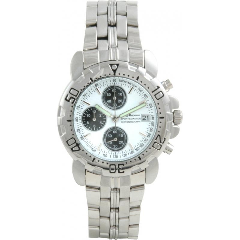 Krug Baümen 7186G-W Sportsmaster White Mens Chronograph Watch
