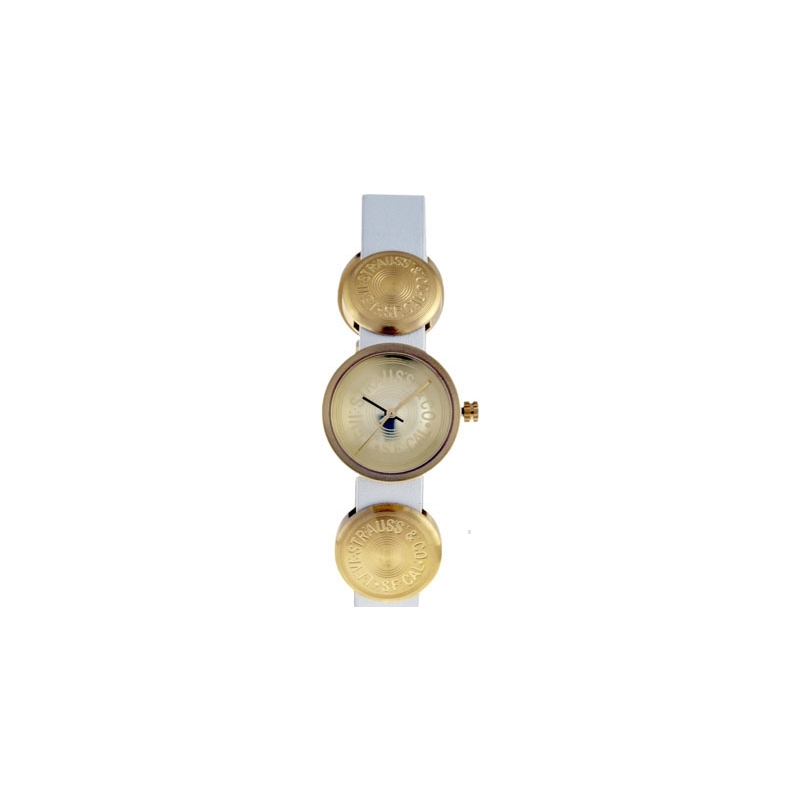 Levis Watches L004GIGGRW Ladies Gold Dial White Leather Strap Watch