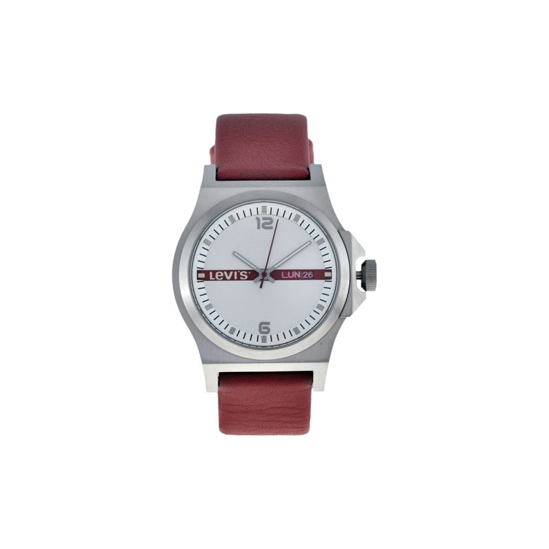 Levis Watches L007GICWRR Ladies Silver Dial Red Leather Strap Watch