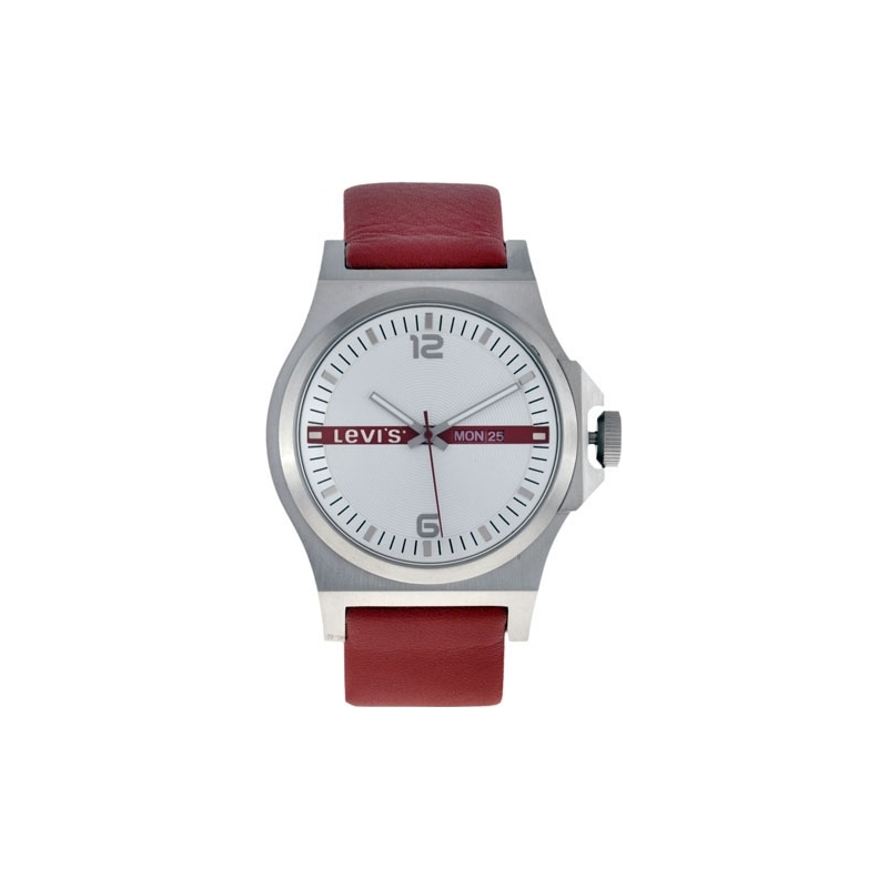 Levis Watches L007GUCWRR Mens Silver Dial Red Leather Strap Watch