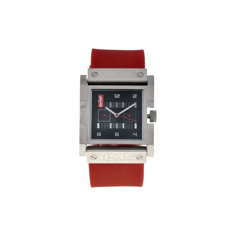 Levis Watches L013GU-2 Unisex Black Dial Red Rubber Strap Watch