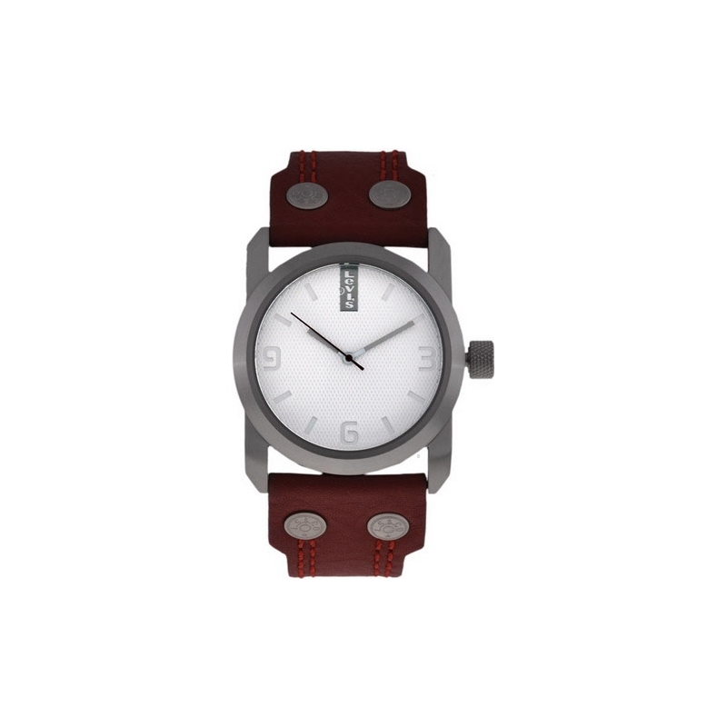 Levis Watches L018GI-1 Ladies White Dial Red Vintage Leather Strap Watch