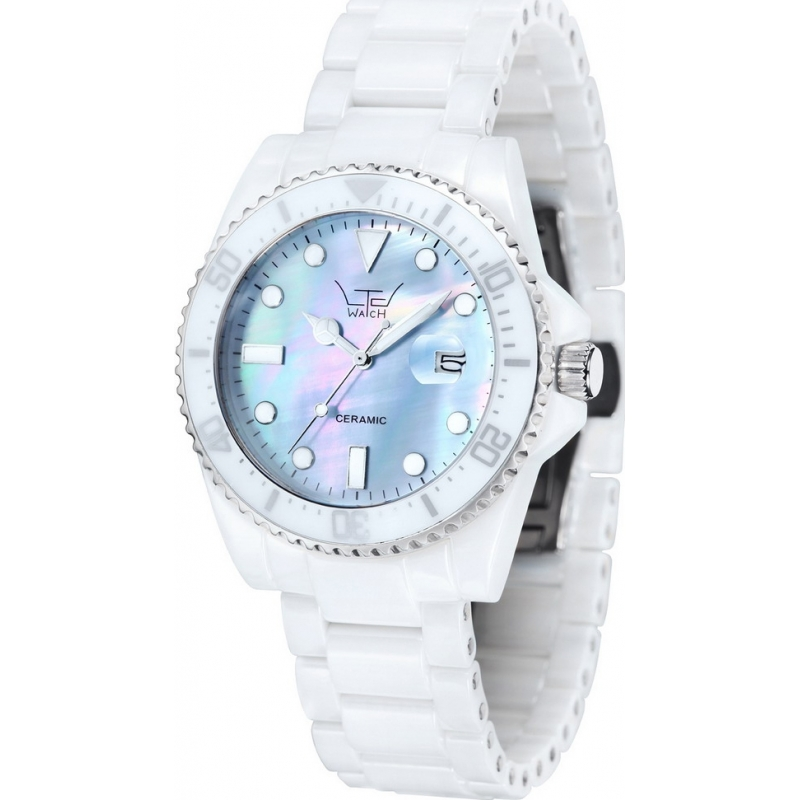 LTD Watch Watches LTD-020604 Unisex Blue Mop Dial White Bracelet Ceramic Watch