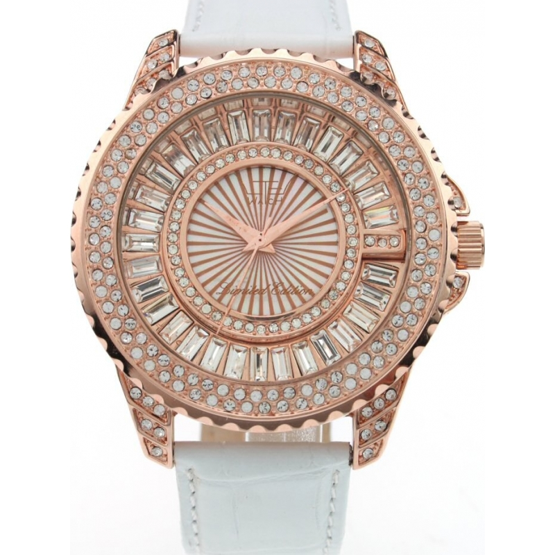 LTD Watch LTD-270104 Limited Edition Full Pave Rose Gold White Watch