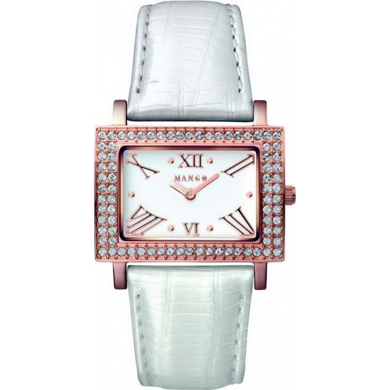 Mango Ladies Samba White Dial Pearl White Leather Strap Watch QM281-32-01 70c08fe59