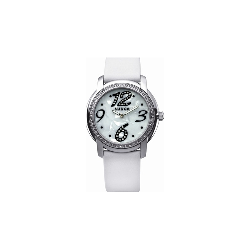 Mango Ladies White Dial With Crystals And White Leather Strap Watch  QM781-39-01 44430c1d4