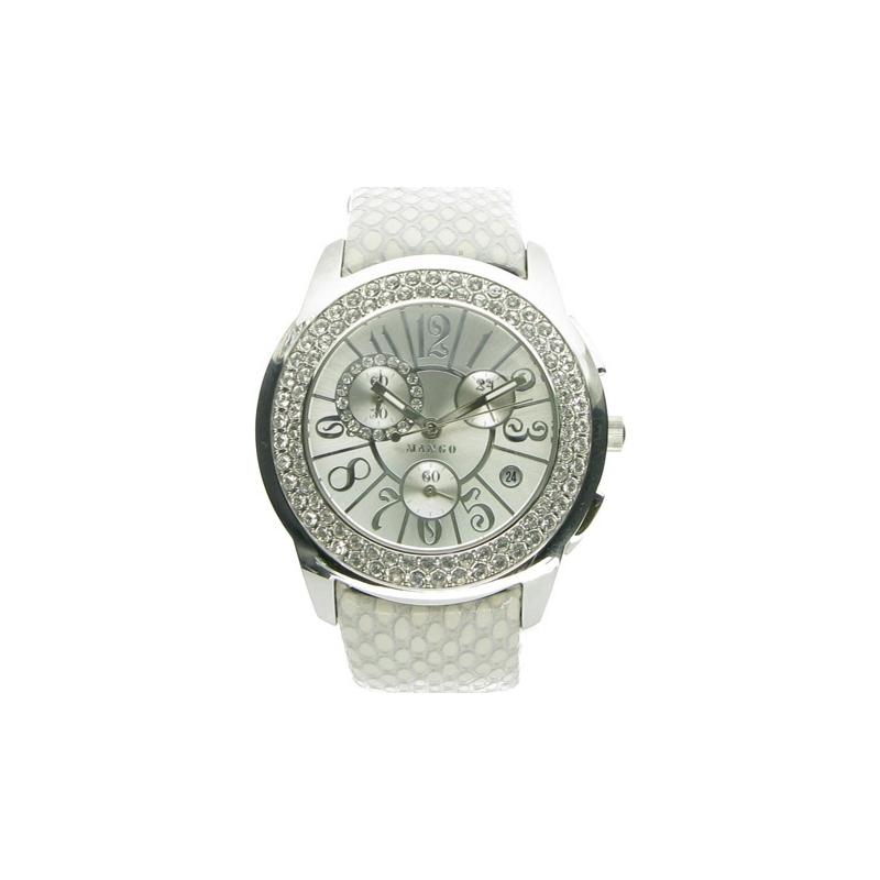 Mango Ladies Steel Polished Case Swarovski Bezel Silver Dial Watch  QM782-33-01 9db366747