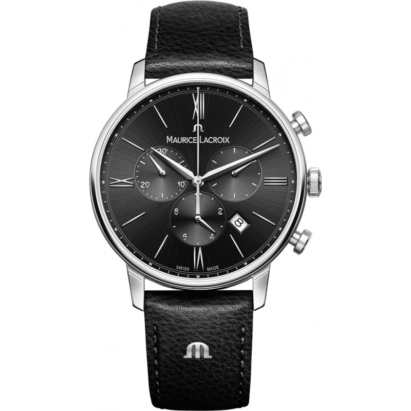 Maurice Lacroix EL1098-SS001-310-1 Mens Eliros couro preto relógio cinta cronógrafo