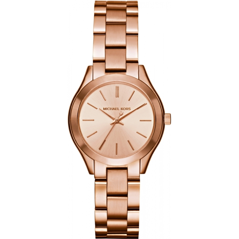 a1f2e54f10c2 Michael Kors Ladies Mini Slim Runway Rose Gold Plated Watch MK3513