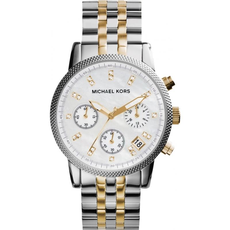 acf5bd2383bc Michael Kors Ladies Ritz Two Tone Steel Chronograph Watch MK5057