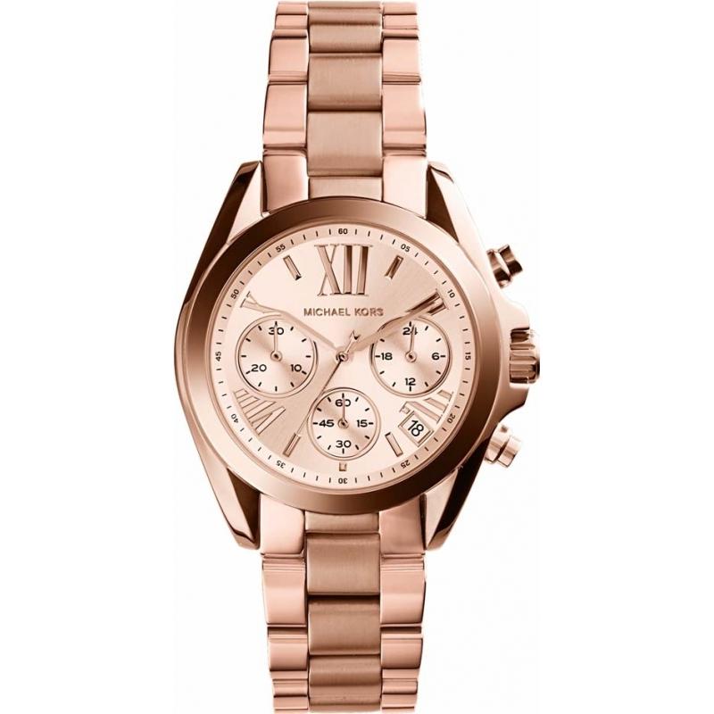 eab7979617845 Michael Kors Ladies Mini Bradshaw Rose Gold Chronograph Watch MK5799