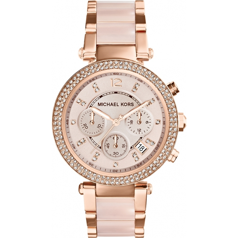Michael Kors MK5896 Ladies Parker Rose Gold Plated Chronograph Watch