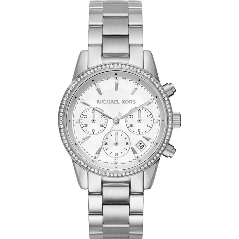d4fb10ceaa72 Michael Kors Ladies Ritz Silver Plated Chronograph Watch MK6428