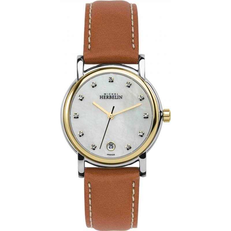 12432 t59go michel herbelin classic brown leather