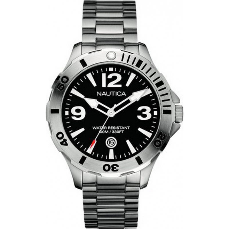 Nautica A14544G Mens BFD 101 Black Silver Watch