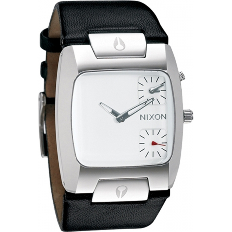 Nixon Watches A086-1100 The Banks Mens White Dial Black Leather Strap Watch