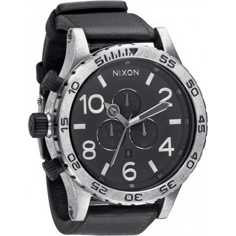 Nixon Watches A124-1479 Mens 51-30 Chrono Leather Antique Silver Black Watch