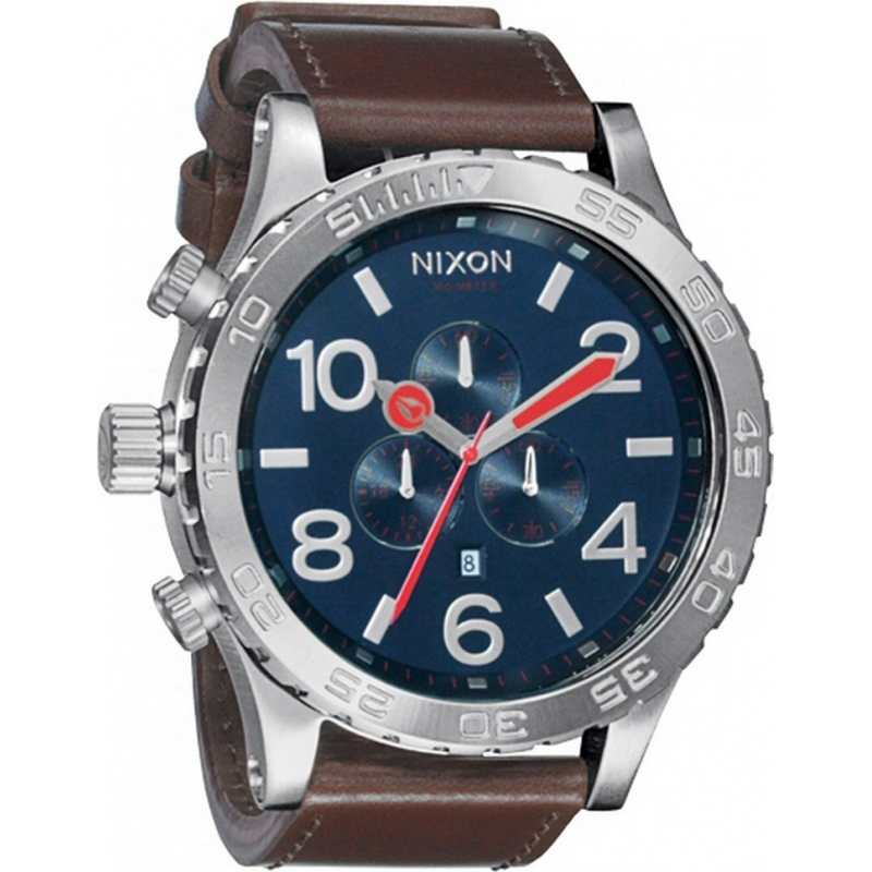 Nixon Watches A124-1879 Mens 51-30 Chrono Leather Navy Brown Watch