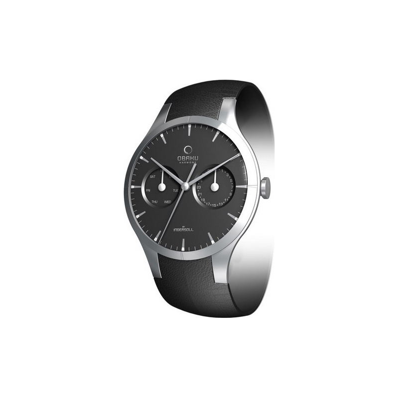 Obaku Watches V100GCBRB Mens Black Dial And Leather Strap Watch