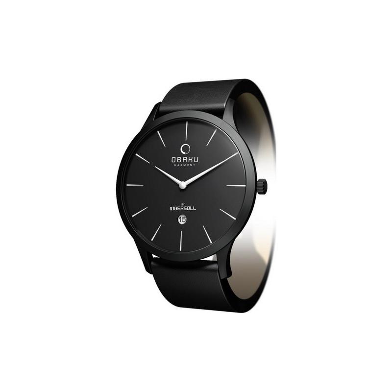 Obaku Watches V112GBBRB Mens Black Dial Black Leather Strap Watch