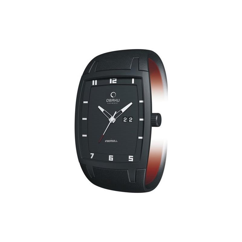 Obaku Watches V114GBBRB Mens Black Dial Black Leather Strap Watch