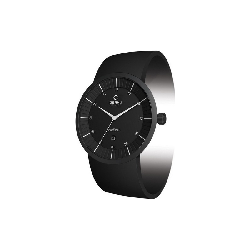 Obaku Watches V121GBBVB Mens Black Dial Black Leather Strap Watch