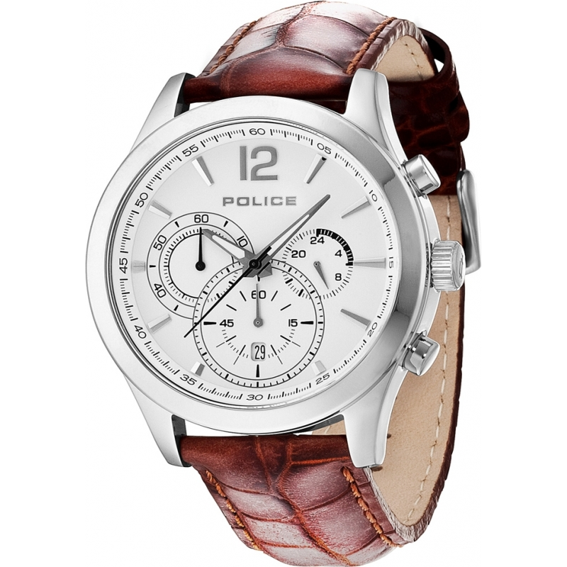 12757js 01 mens police watch watches2u police 12757js 01 mens ohio brown leather strap watch