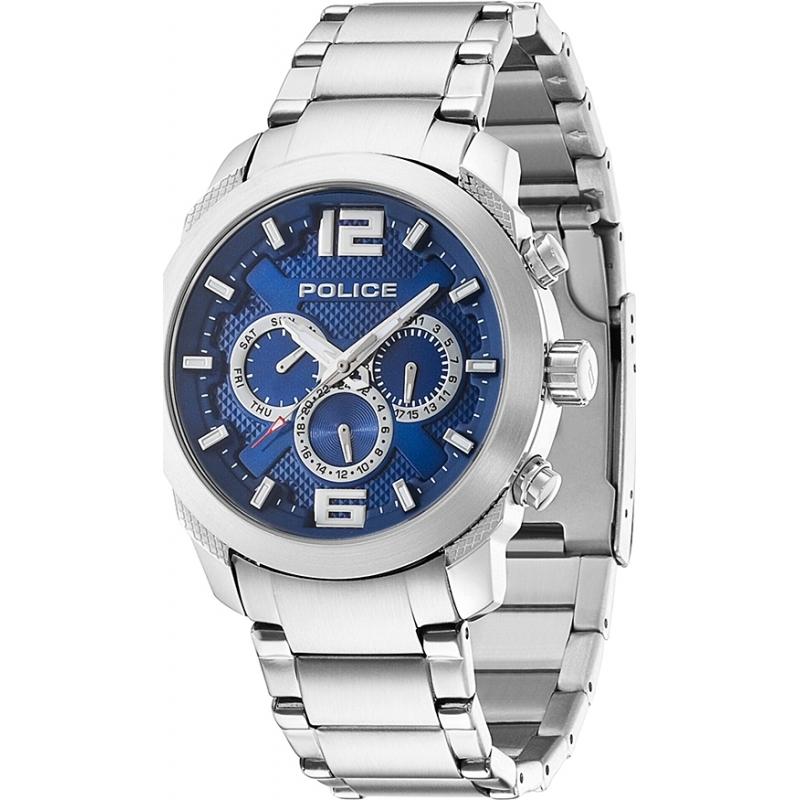 13934js-03m - police mens triumph chronograph silver steel watch