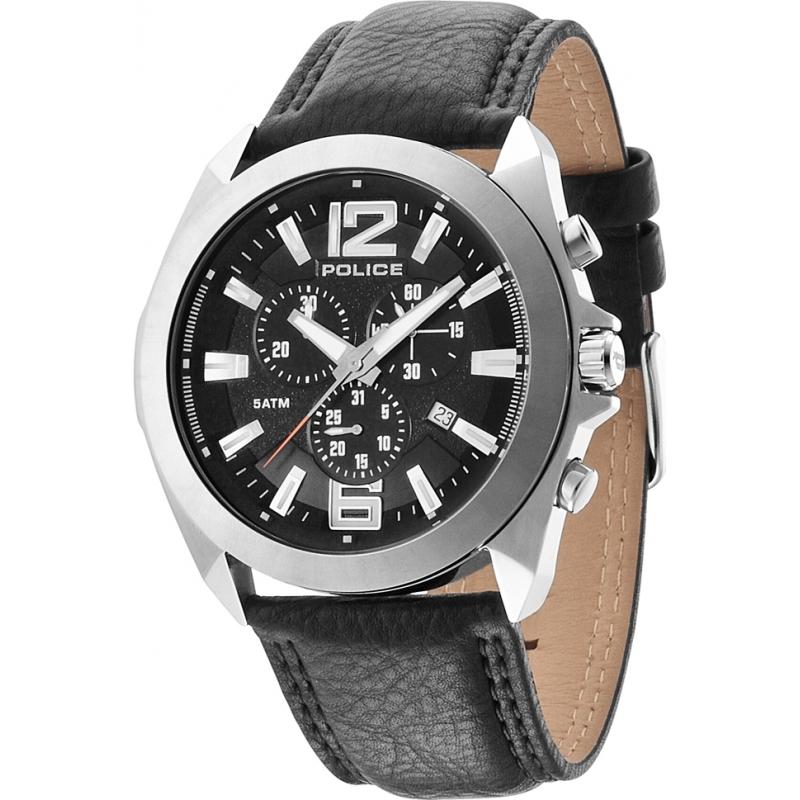 14104js 02 police mens ranger ii black leather strap watch