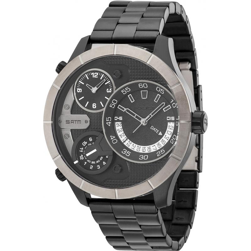 14638xsbu 02m police mens bushmaster black steel bracelet watch police 14638xsbu 02m mens bushmaster black steel bracelet watch