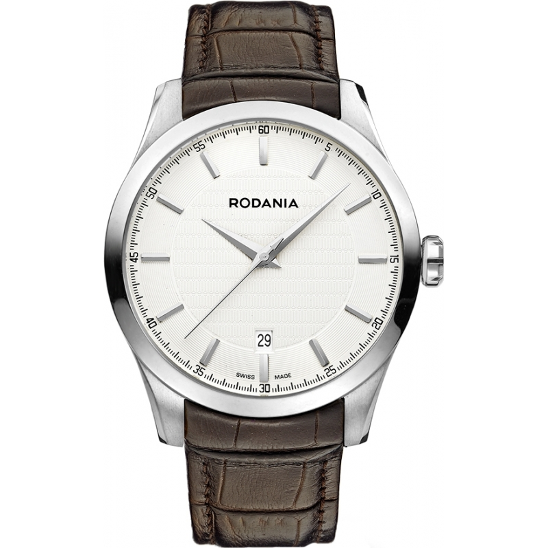 Rodania Swiss RS25068-21 Mens Silver and Brown Nolan Watch
