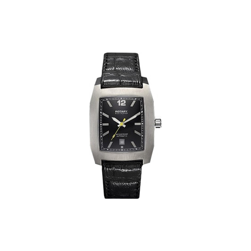 Rotary Watches 201B Series 200 Mens Black Dial Titanium Plated Watch