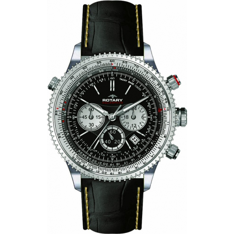 rotary catkil1 mens watch watches2u rotary catkil1 mens aquaspeed chronograph black leather strap watch