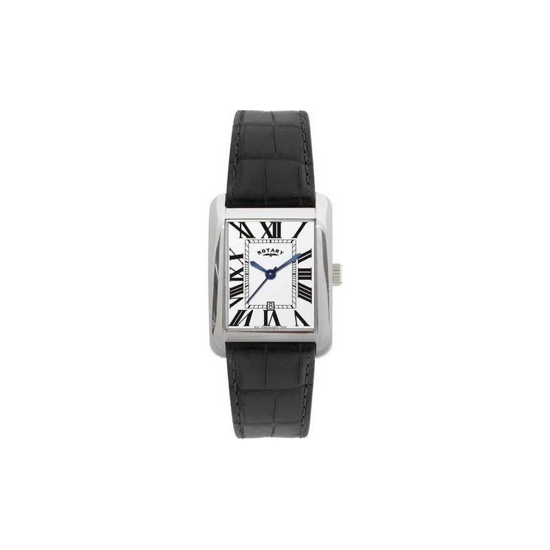 Rotary Watches GS02325-29 Mens White Dial Black Leather Strap Watch