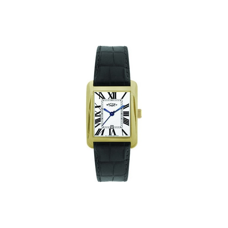 Rotary Watches GS02326-45 Mens White Dial Black Leather Strap Watch