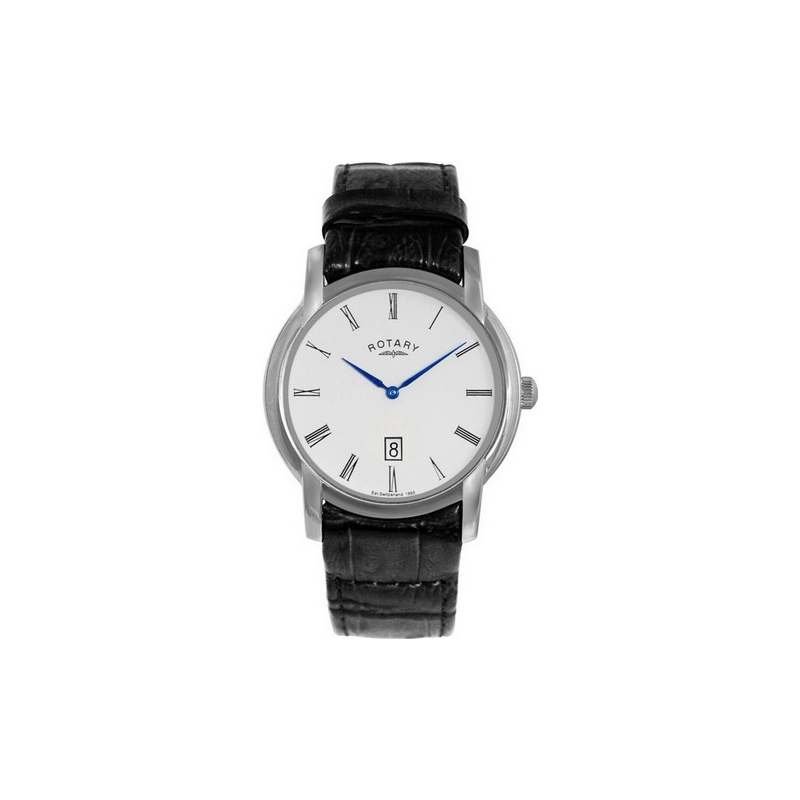 Rotary Watches GS02580-01 Mens White Dial Black Leather Strap Watch