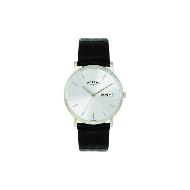 Rotary Watches GS02622-06-DD Mens White Dial Black Leather Strap Watch