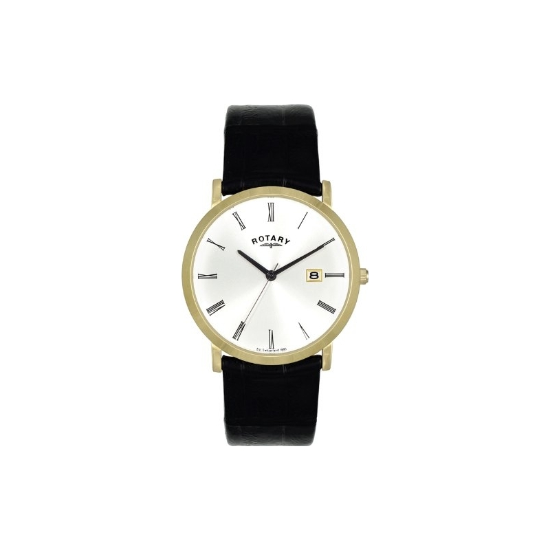 Rotary Watches GS02624-01 Mens White Dial Black Leather Strap Watch